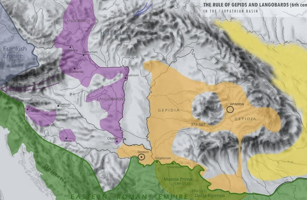 Германские владения 6 века в Подунавье