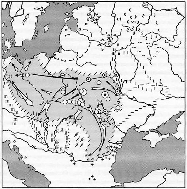 Карта пражской культуры по Гавритухину. Кружочками с точкой обозначены самые ранние поселения. Крупными кружками – скопления посёлков