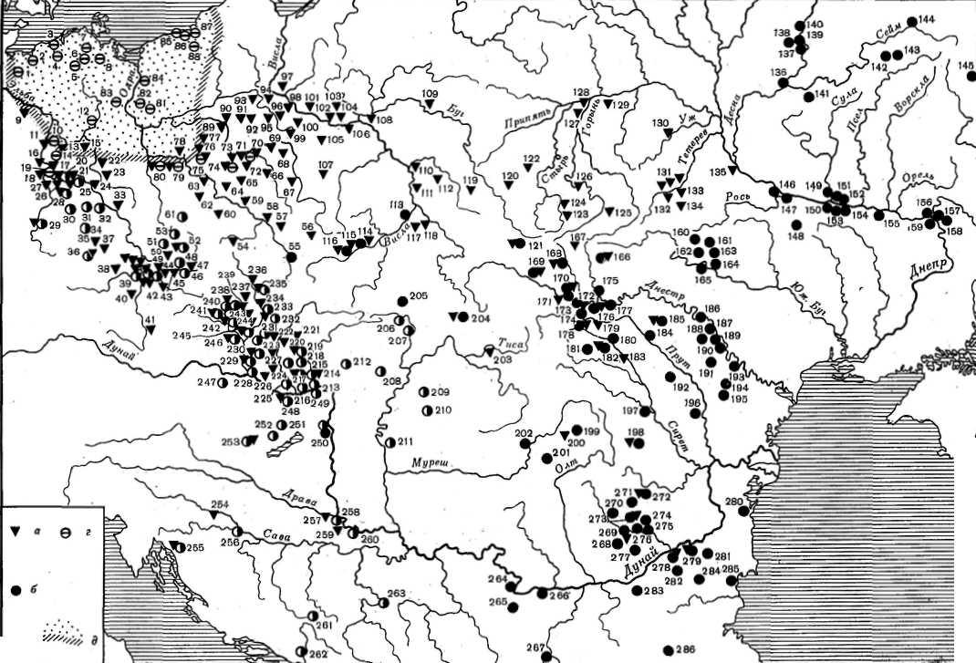 Фрагмент карты распространения славянской керамики по В. Седову. Треугольниками отмечены поселения с находками праго-корчакских горшков, кружками - пеньковских. Очевидно, что в междуречье Олта и Прута вторые почти в два раза превосходят первых.