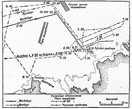 Рис. 25. Гибель немецкого крейсера «Магдебург» 13 августа 1914 г.