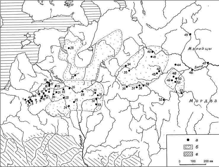 Распространение браслетообразных незамкнутых височных колец около середины и в третьей четверти I тысячелетия н. э.