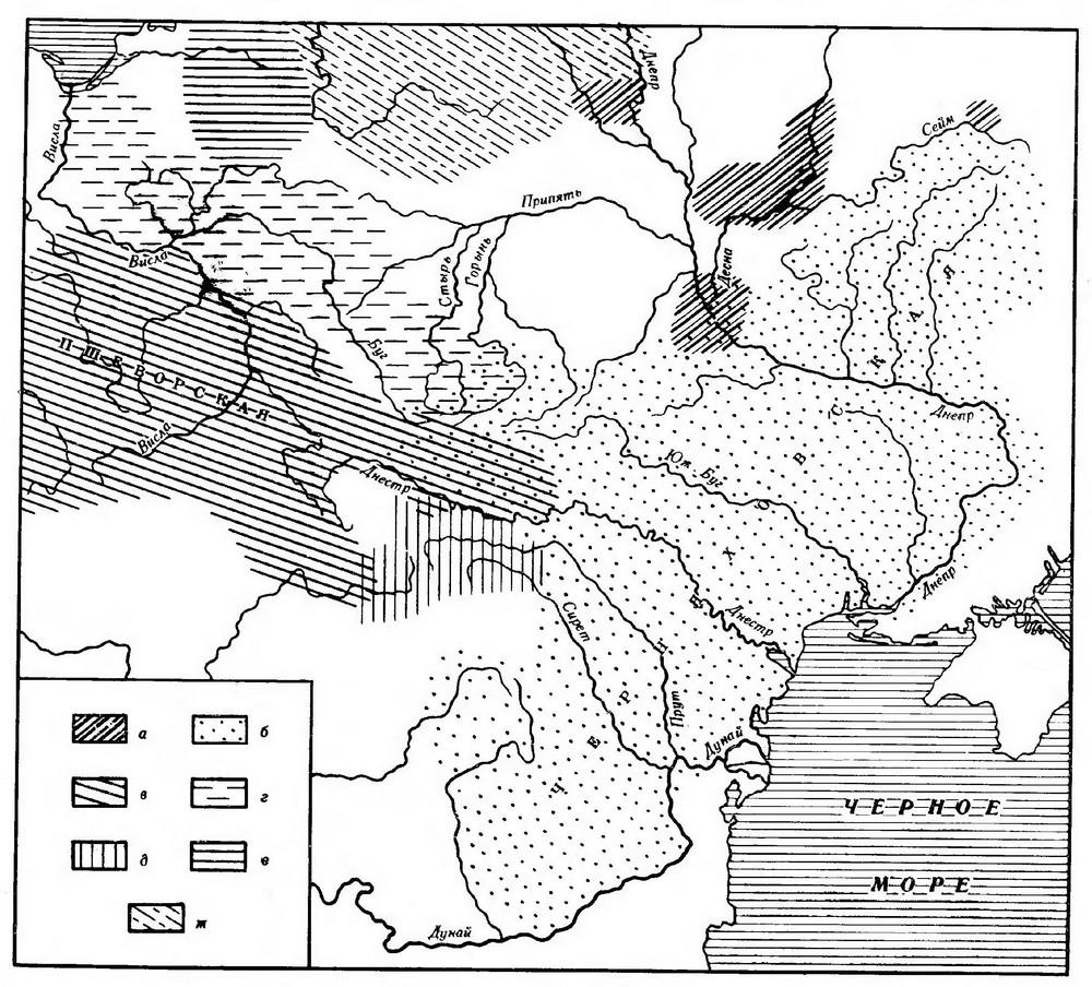 Карта 7. Распространение культур в IIII – V вв.