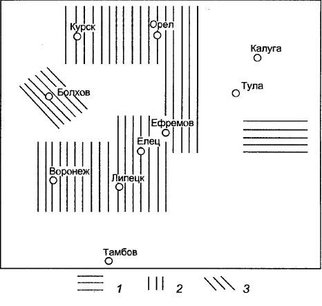 Рис. VII-1. Распространение некоторых фамилий иа юге России, по |Никонов, 1974]